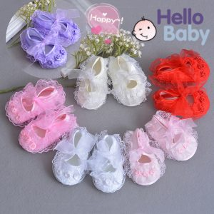 Baby Girl Soft Lace Ribbon Flower Booties