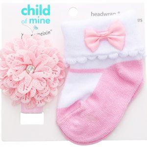 Sweetie Pink Cotton Socks & Flower Head Band
