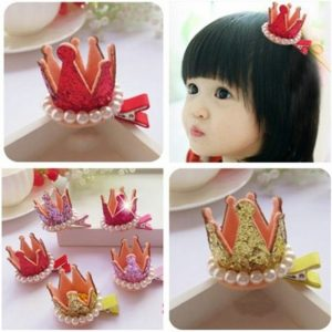 Glittery  pearl princess Crown crown hairpin