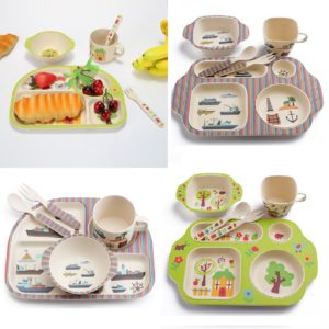 Kids / Baby Tableware set of 5 environmental protection bamboo fiber dishes