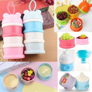 Portable 3 Layers Multi functional Baby Milk Powder Tank Snacks , Cereal , Fruits , Cookies Food Storage Box Suit Good Sealing