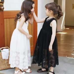 5-10 years Black Cotton Summer lace long Princess Gown