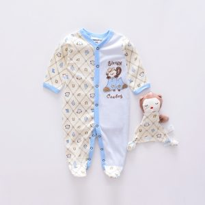 Carter,s Cotton Baby Sky Blue Cartoon Full Body Romper with Cuddling Toy