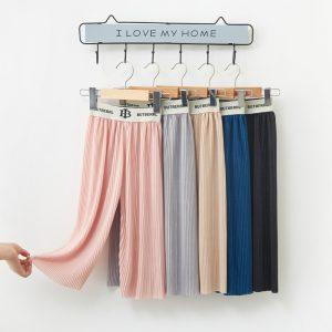 Summer wide-legged Light Weight SilKorean Plated Letter waist pants