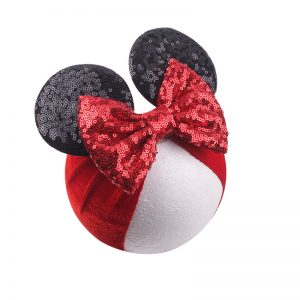 Red Minnie Sequined Bow Baby Soft Velvet Head Band